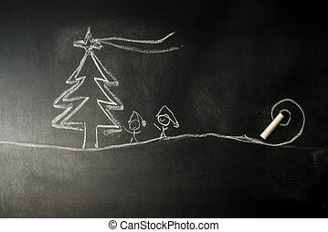 Funny Christmas Greeting Card, Christmas tree and stickman...