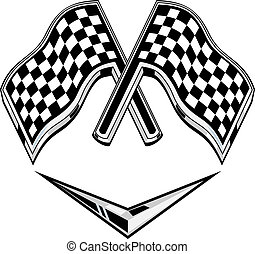 metallic racing checkered flag crossed with chevron -...