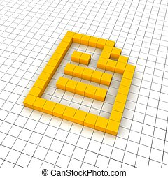 Document 3d icon in grid. Rendered illustration.