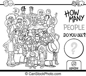 counting people task for coloring - Black and White Cartoon...