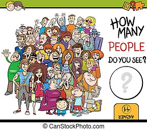 counting people activity game - Cartoon Illustration of...
