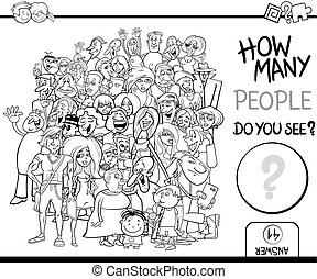 counting people task coloring page - Black and White Cartoon...