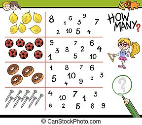 educational counting activity - Cartoon Illustration of...