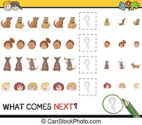 educational pattern activity task - Cartoon Illustration of...
