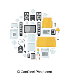 Household appliances flat colourful icons drawn up into circle on white