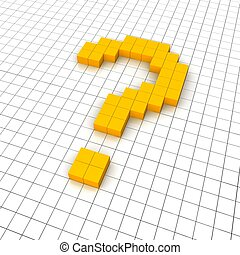 3d question mark icon in grid. Rendered illustration.