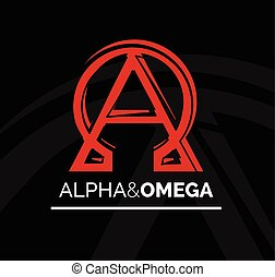 Logo icon design of Alpha and Omega symbol. Vector...