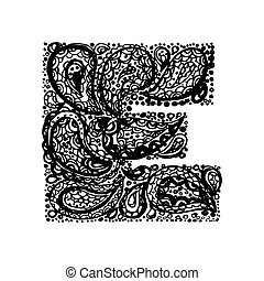 Decorative Alphabet with a paisley zen doodle tattoo ornaments filling.
