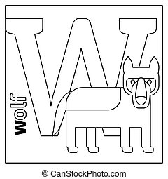 Wolf, letter W coloring page