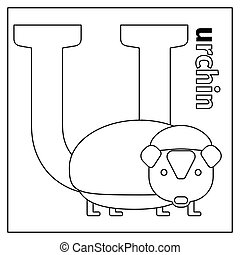 Urchin, letter U coloring page - Coloring page or card for...