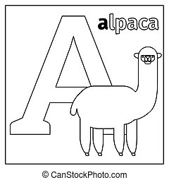 Alpaca, letter A coloring page - Coloring page or card for...