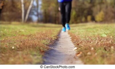 man running on the meadow path - athlete man running on the...