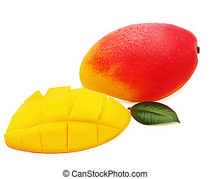Fresh mango fruit with cut and green leaves isolated on white ba