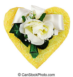 Composition of artificial flowers in heart shape isolated on whi