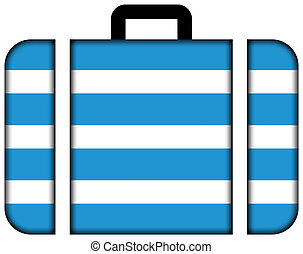 Flag of Most City, Czechia. Suitcase icon, travel and...