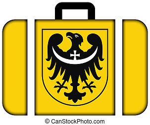 Flag of Lower Silesian Voivodeship with Coat of Arms,...