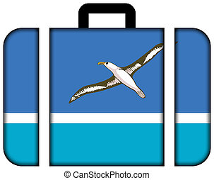 Flag of Midway Atoll (unofficial). Suitcase icon, travel and...
