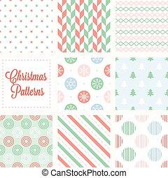 Christmas seamless pattern in vintage style, herringbone, stars, snow flake on circle, christmas tree, diagonal stripes, stripes of circle