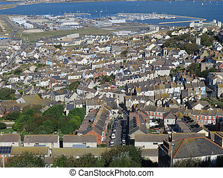 Village of Chesil in Dorset - View from Portland over the...