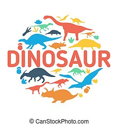 Dinosaurs symbols in the shape of c