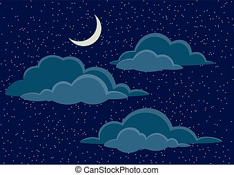 Night Sky with Clouds - Cloudscape Background, Cumulus...