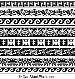 Ancient Greek pattern - seamless set of antique borders from Greece