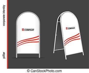 Template Mockup for advertising and corporate identity. Advertising pillar.