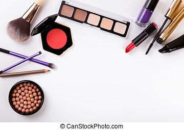 cosmetics set with copy space isolated on white background
