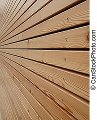 wood facade - Background texture of finely slatted natural...