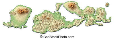 Relief map - West Nusa Tenggara (Indonesia) - 3D-Rendering -...
