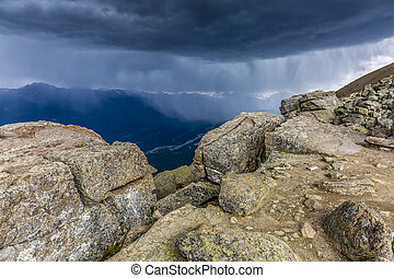 Approaching Storm on a Mountain Top - Jasper NP, Canada -...