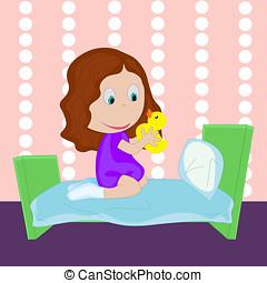 Mały, gry, Ubrany, skarpety, Żółty, dziewczyna, łóżko,...