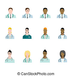Set of doctor avatars profession, basic characters set in...
