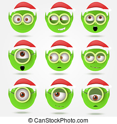 Set of funny green Santa's elfs smiles in goggle glasses