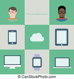 Internet technology infographic in flat style. Two users in...