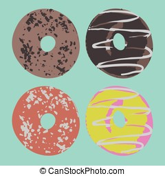 Set of donuts in vector