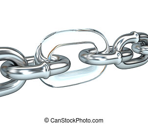 3D illustration of steel chain with a weak link in the glass. Business management concept.
