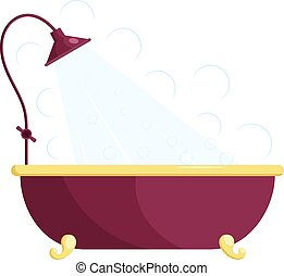 Vector illustration of a red bath with shower. Cartoon bath with shower on a white