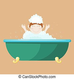 Vector illustration of a small child bathing in a bath. Cartoon drawing of a boy in a bath with