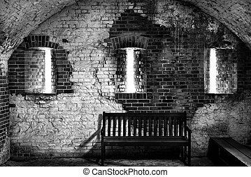 Interior of a Florida Fort circa 1800 - Inside view of Fort...