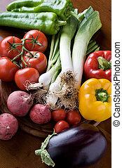 Un, selección, fresco, orgánico, vegetales