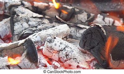 SLOW MOTION: Close up details of a campfire fire flames...