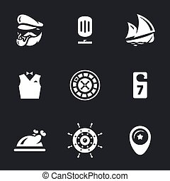 Vector Set of Sea Cruise. - Captain, microphone, ship,...