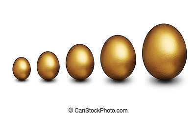Golden eggs representing financial security - Five golden...