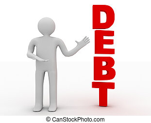3d businessman presenting concept word debt isolated white...