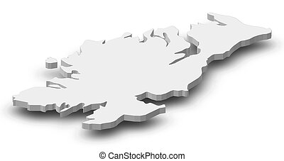 Map - Donegal (Ireland) - 3D-Illustration - Map of Donegal,...