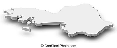 Map - Galway (Ireland) - 3D-Illustration - Map of Galway, a...