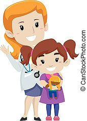 Female doctor with her Kid Patient - Vector Illustration of...