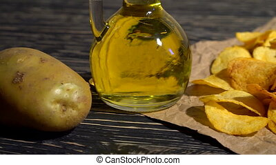 Potato chips dolly with oil, and potato.