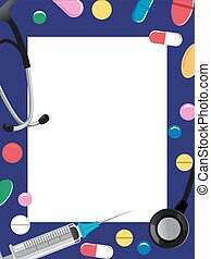 Medical Elements Frame - Vector Illustration of Medical...